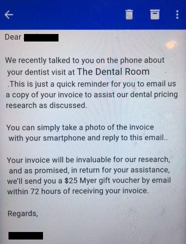 HealthEngine Offered $25 Gift Vouchers for Dental Invoices